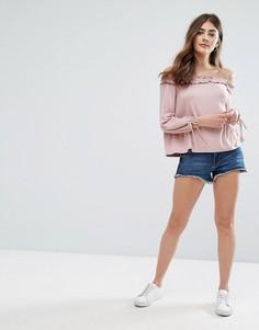 Джинсовые шорты с необработанным краем New Look - Синий