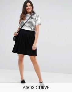 Расклешенная мини-юбка со складками ASOS CURVE - Черный