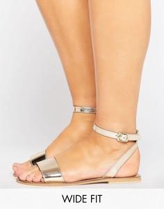 Кожаные сандалии для широкой стопы ASOS FLIQUE - Золотой
