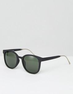 Солнцезащитные очки с металлической отделкой дужек Pieces Melli - Черный