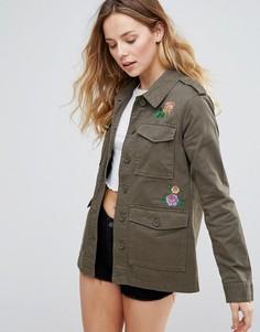 Куртка с цветочной вышивкой Brave Soul - Зеленый