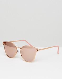 Солнцезащитные очки кошачий глаз цвета розового золота с зеркальными стеклами Pieces Milli - Золотой