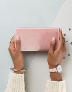 Бархатный кошелек на молнии New Look - Розовый