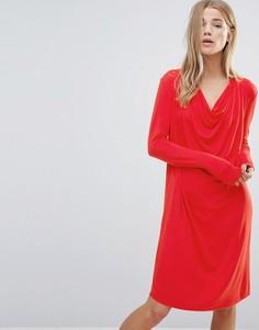 Цельнокройное платье со свободным воротом Ganni - Красный