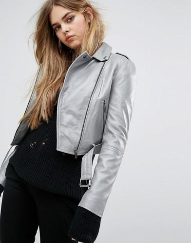 Короткая кожаная байкерская куртка Muuba Sembri - Серебряный