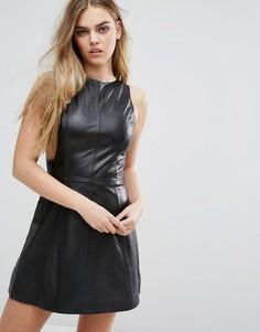Кожаное платье-трапеция Muubaa Agden - Черный