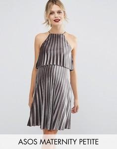 Бархатное плиссированное платье мини с кроп-топом ASOS Maternity PETITE - Серый