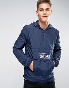 Темно-синяя ветровка через голову с карманом и логотипом Hilfiger Denim - Темно-синий