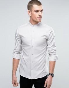 Приталенная рубашка с горловиной на пуговице Selected Homme - Stone