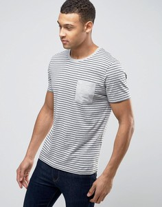 Футболка в полоску с карманом Selected Homme - Серый