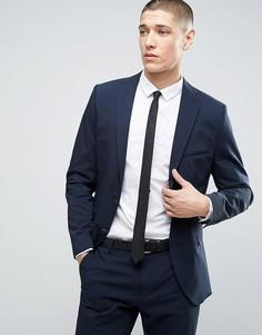 Приталенный пиджак из жатой ткани Selected Homme - Темно-синий