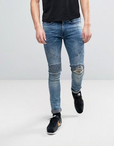 Облегающие светло-синие байкерские джинсы с рваной отделкой на коленях Religion - Синий