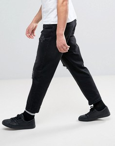 Черные рваные джинсы слим Religion - Черный