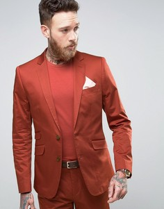 Темно-оранжевый приталенный пиджак из хлопкового сатина Devils Advocate - Коричневый