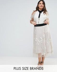 Премиум-юбка макси с удлиненным прозрачным краем Elvi - Розовый