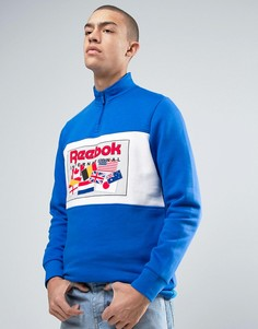 Синий свитшот в стиле ретро с горловиной на молнии Reebok BK6505 - Синий