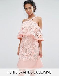 Кружевное платье мини с открытыми плечами Jarlo Petite - Розовый