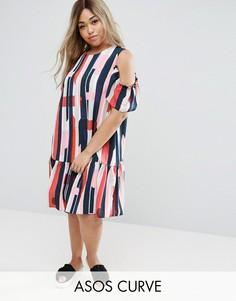 Платье в полоску с открытыми плечами ASOS CURVE - Мульти