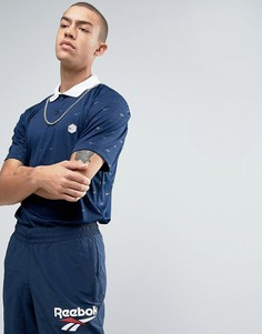Темно-синяя футболка-поло в стиле ретро Reebok BK6585 - Темно-синий
