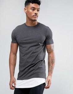 Длинная обтягивающая футболка с контрастной вставкой ASOS - Серый