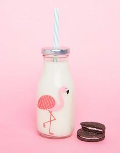 Бутылка с соломинкой и принтом фламинго Sass & Belle - Мульти