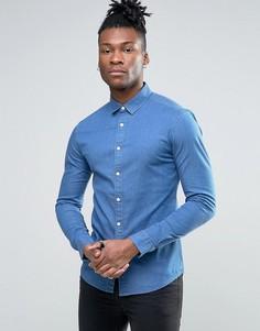 Супероблегающая джинсовая рубашка ASOS - Синий