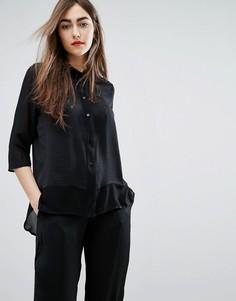 Oversize-рубашка бойфренда с шелковой вставкой Moss Copenhagen - Черный