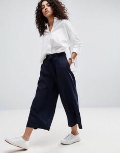 Льняные юбка-брюки ASOS - Темно-синий