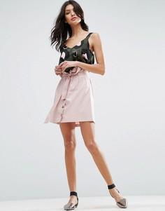 Льняная мини-юбка на пуговицах ASOS - Розовый