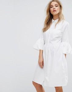 Платье-рубашка с расклешенными рукавами New Look - Белый