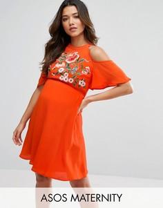 Короткое приталенное платье с вырезами на плечах и цветочной вышивкой ASOS Maternity - Красный