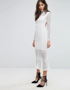 Кружевное платье миди с высокой горловиной PrettyLittleThing - Белый