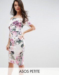 Платье миди с широким вырезом и цветочным принтом ASOS PETITE - Мульти