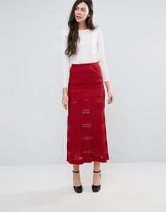 Кружевная юбка макси Endless Rose - Красный