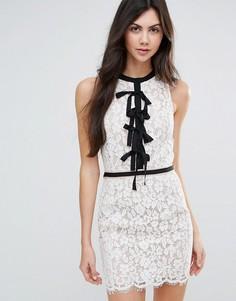 Кружевное цельнокройное платье с завязкой Endless Rose - Белый