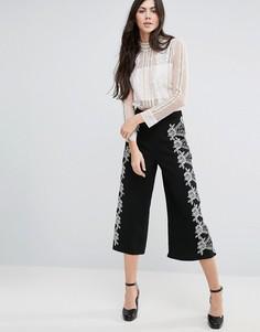 Широкие укороченные брюки Endless Rose - Черный