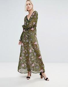 Платье с длинными рукавами, принтом и разрезом Brave Soul - Зеленый