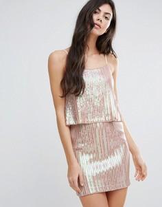 Плиссированное платье металлик с накладкой Endless Rose - Розовый