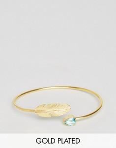 Браслет-манжета с пером и камнем Ottoman Hands - Золотой