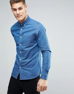 Умеренно-выбеленная узкая рубашка из эластичного денима ASOS - Синий