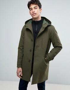Непромокаемая куртка-парка в строгом стиле цвета хаки ASOS - Зеленый