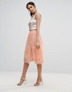 Юбка миди с кружевным верхним слоем Boohoo - Розовый