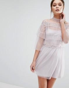 Многослойное платье мини из тюля True Decadence - Розовый