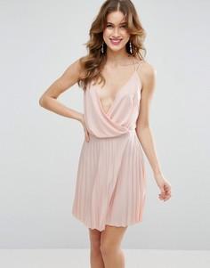 Платье мини с плиссировкой и запахом ASOS - Желтый