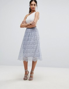 Кружевная юбка миди Boohoo - Серый