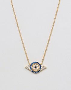 Ожерелье с подвеской-глазом Ottoman Hands Evil Eye - Золотой