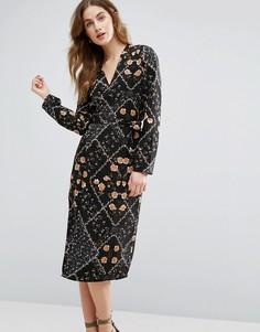 Платье миди с запахом спереди и цветочным принтом Vila - Черный