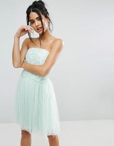 Платье-бандо с кружевной отделкой Little Mistress - Синий