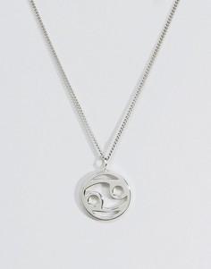 Серебряное ожерелье со знаком зодиака Рак Fashionology - Серебряный