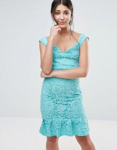 Платье с широким вырезом и баской по низу Paper Dolls - Синий
